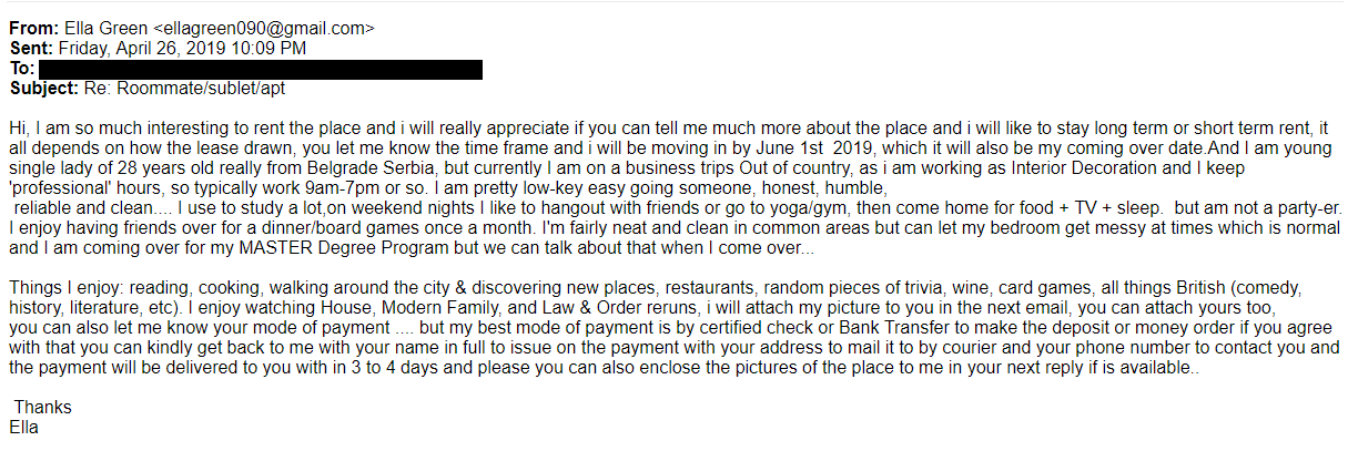 roommate matching scam email
